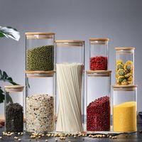 غطاء تخزين الزجاج الشفاف غذاء الفلين غطاء زجاجات الجرار للرمال السائل الغذاء زجاجات الزجاج صديقة للبيئة مع غطاء الخيزران