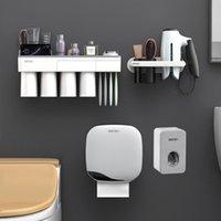 Conjunto acessório de banho Toothbrush Holder Dental Dispenser Dispenser Caixa de papel higiênico Secador de cabelo para acessórios para banheiro