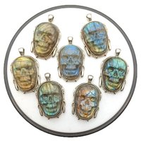 Naturston Mens Jewelry Gemstone's Talling Skull Colgante Collar Collar Labradorita Natural Máscara Back Motorista Cadena de Cadena