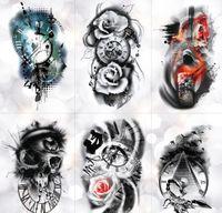 Körper Time Clock Tatoo Tower Wasserdichte Kunst Tätowierungen Familie Rose Tattoo Temporäre Gefälschte Tätowierungen Armaufkleber Günstige Skorpion Temporäre SKU SQCUT