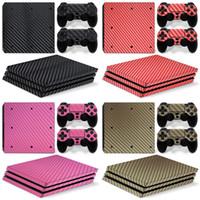 PS4 Pro 용 - 탄소 섬유, 블랙 화이트 레드 골드 - PlayStation 4 비닐 콘솔 스킨 데칼 스티커 + 2 컨트롤러 스킨 세트 Y1201