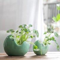 وعاء النبات عصاري الإبداعية السيراميك إناء داخلي المائية زهرة وعاء زهرة صغيرة خضراء زهرية حديقة ديكور المنزل اكسسوارات 1