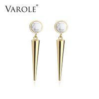 Varol Spike Doğal Taş Uzun Küpe Kulak Çiviler Altın Renk Dangle Küpe Paslanmaz Çelik Bırak Küpe Kadınlar Takı için