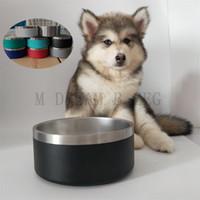 الأطباق الكلب 32 أوقية الفولاذ المقاوم للصدأ عدم الانزلاق الأطباق الحيوانات الأطباق 8 ألوان المروم مزدوجة الجدار فراغ معزول كبير الكلب وعاء أكواب