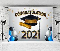 2021 Laurea Season Backdrop Balloons Bachelor Cap Decorazione Decorazione Fotografia Stock Congratulazioni Congratulazioni Backdrops per studenti Prom PROP