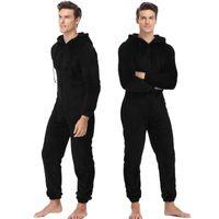 Männer Warme Fleece Onesie Flauschiger Schlaf Lounge Erwachsene Nachtwäsche einteiliger Pyjamas Männliche Jumpsuits Mit Kapuze Onesies für Erwachsene Männer