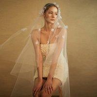 Bohemian White Ivoire Fleurs Tulle Bridal Mariage Voile Head Head Accessoires Fingertie Longueur 3D Floral Boho Beach Beach Mariée Voile pas cher