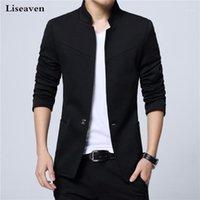 Liseaven Blazer Erkekler Ceketler Erkek Standı Yaka Erkek Blazers Slim Fit Erkek Blazer Siyah Ceket Erkekler Artı Boyutu 5XL1