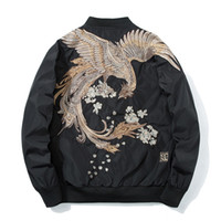 Molla Pilot Bomber Giacca Uomini Donne Uccello Ricamo Giacca da baseball Moda Casual Youth Couples Coat Giappone Streetwear 201123