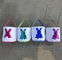 Easter Rabbit Bucket Easter Sequins Bunny Print Plush Baskets Handbag Easter Hunt Egg Gifts Candy Storage Bucket Bags YL222