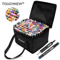 TouchNew Markers Permanentes Álcool Marcadores de Tinta Escova Dupla Dicas Profissional Desenho Marcador Definição De Design 30/40/60/80/168 Cores Y200709