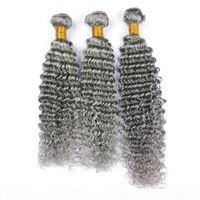 Qualidade de prata cinza profundo cabelo humano cabelo 3 pacotes virgem brasileira cabelo cinza tece 3 pcs lote 100% extensões de cabelo humano