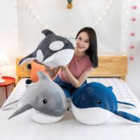 Nuovo caldo peluche Giocattoli Kawaii Whale bambole del cuscino molle farcito di squalo Cuscino per bambini delle ragazze dei ragazzi Capodanno regali di compleanno di Natale per la casa