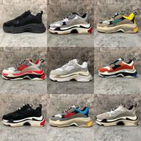 2021 جديد فاخر الثلاثي s الرجال النساء أحذية خمر 17fw أحذية رياضية 5a أسود أبيض باريس الوردي رمادي رجل الأزياء المدربين عارضة الركض المشي