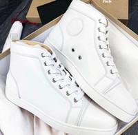 Factory Vente Sports Blanc, Noir Hautes Hautes Sneaker Calfskin Sneaker Sneaker Red Bottom Shoes Classic Marque Hommes, Femmes Casual Sports Sports en plein air