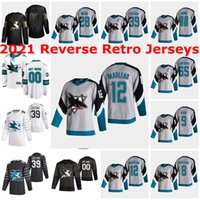 San Jose Sharks 2021 Ters Retro Formalar 44 Marc-Edouard Vlasic Jersey 30 Aaron Dell 31 Martin Jones 21 Brandon Davidson Özel Dikişli
