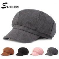 Sleckton Sekizgen Şapka Bayanlar Kış Bere Rahat Ressam Şapka Newsboy Kapaklar Fedora Trilby Kadife Bere Kadınlar için Kapaklar11