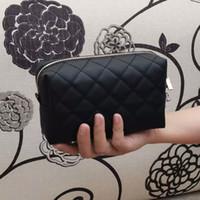 Nieuwe mode zwarte diamant make-up tas Klassieke gewatteerde zwarte kleur cosmetische case vintage party make-up organizer tas clutch bag (Anita)