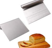 Raspador de banco de acero inoxidable de 15 * 11.5 cm, cortador de masa de pizza, guía de medición Herramientas de cocina
