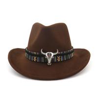 2021 Geniş Ağız Batı Kovboy Caz Şapka Kap Erkekler Kadınlar Yün Fedora Şapkalar Şerit Metal Bullhead Süslü Siyah Panama Kapağı