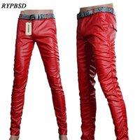 6 colori nuovo PU Pantaloni da uomo Fashion Motorcycle in ecopelle di alta qualità Pantaloni skinny 27-36 201222