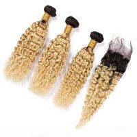 Sarışın Ombre Islak ve Dalgalı İnsan Saç 3 Paketler Kapatma Ile # 1B 613 Ombre Su Dalga Brezilyalı Bakire Saç Dantel Kapatma Ile Örgüler 4x4