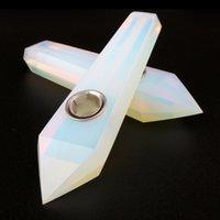 Kristalle Opalrohr Natürliche Kristall Quarz Tabakrohr Tragbare Handleitungen Metall Carb Loch Haushalt Raucherrohre