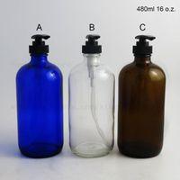 Grande capacidade 480 ml 16 oz âmbar azul claro boston redondo vidro líquido gel garoto garrafa com bomba de loção preta