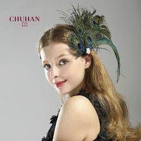 Chuhan Haarnadel Styling Zubehör für Hochzeit Party Braut Feder Kopfschmuck Pfau Feder Haar Clip Braut Haar Ornament LJ201023