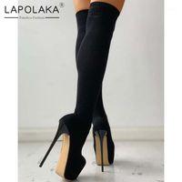 Çizmeler Lapolaka 2021 SM Fetiş Seksi Kutup Dans Kadın Ayakkabı Süper Yüksek Topuklu Platformu Elastik Bant Çorap Boot Ladies1