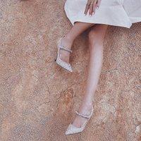 امرأة لندن بيلي 100 ملليمتر مضخات العجل جلد الماعز الجلد كريستال جيمي الكعوب المعادن تشو حزام بيلي بيرل كريستال أحذية الزفاف
