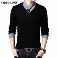 Erkek Kazakları Coodrony Erkek Giyim Sonbahar Kış Gelenler Moda Rahat Yumuşak Örme Kalın Sıcak Düğme V Yaka Kazak Kazak C2002