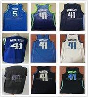 Dikişli Erkekler Vintage Jason 5 Kidd Formalar Dirk 41 Nowitzki Basketbol Gömlek Mavi Beyaz Donanma 2021 Nakış Mesh Hızlı Kargo