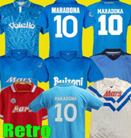 1987 1988 Napoli Retro Maradona Soccer Jerseys 86 87 88 89 90 1991 93 ITALIA Vintage Calcio Kits Nápoles Classic Neapolitan Football Shirts