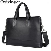 Briefcases Oyixinger Men's Briefcase Genuine Leather Men Handbags Business Laptop Bag For 14 Inch Solid Fashion Shoulder Bags Male1