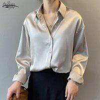 Винтажные белые рубашки с длинным рукавом топы дамы элегантные корейские офисные рубашки мода кнопка мода атласная шелковая рубашка блузка женщины 11355 201130