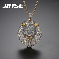 Jinse Mens Full Iced Cubic Zirconia Leone Tag Collane Collane Pendenti Hip-hop Catena cubana Collana Hip-Hop Collana Gold Jewelry per maschio1