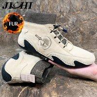 Jichi Männer Winterstiefel Mode Design Lederstiefel Männer Warme Plüsch Winter Schnee Casual Schuhe Männer Komfortables Licht Große Größe 48 201126