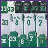 2021 New Jayson 0 Tatum Basketball Jersey Kemba 8 Walker Mens Hommes Larry 33 Bird Jeunes enfants Jaylen 7 Brown maille rétro Marcus 36 Smart Brown