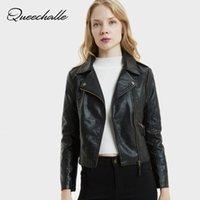 Женские куртки QueeChalle мотоциклетные пальто женской куртки поворотный воротник PU кожаная осень зима короткая тонкая верхняя одежда
