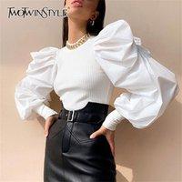Twotwinstyle patchwork branco malha ruched mulheres camisola o pescoço manga pulverizador feminino streetwear outono moda lj200815