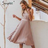 Vestidos casuais Simplee sexy v-pescoço mulheres vestido festa elegante espaguete cinta feminino escritório plissado sólido rosa midi vestidos de verão1