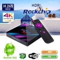 H96 Max TV Box Android 10.0 RK3318 4GB 32GB Dual WiFi Bluetooth 4K Player Media Player Boîtes