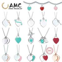 COLLA DE TIFF 925 Collar colgante de plata Joyería femenina Exquisita artesanía con logo oficial Classic Blue Heart Necklace al por mayor