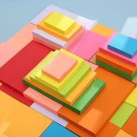 100 hojas Nota Papel Series Simple Color Sólido Kawaii Diario Papel Memo Pad Autoadhesivo Escuela Oficina Oficina Papelería Memo PPF23