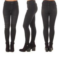 Kadınlar Siyah Moto Kot Kadın Streç Biker Punk Uzun Elastik Bel Denim Pantolon Için Yüksek Beledilmiş Skinny Jeans