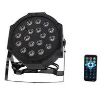 Mejor 24w 18-RGB LED Auto / Voice Control DMX512 Mini de alta calidad Lámpara de escenario LED (AC 100-240V) Negro * 10 Luces de cabeza móviles