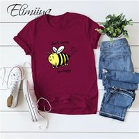 Élimiyya T-shirt surdimensionné Bee Happy Print T-shirt Femmes Vêtements d'été 2020 Loose Drôle Tee Tops T-shirts 4XL 5XL Femme LJ200820
