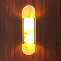 Marmo Lampada da parete LED 90-260 V Soggiorno Corridoio Parete Sconce Camera Hotel Camera Bagno Parelle Lampada da parete dorata Atmosfera in metallo