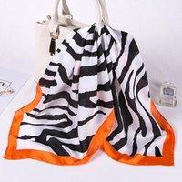 Шарфы модные шелковые Sauqre шарф женские напечатанные Zebra животных Follard квадратная повязка на повязку 2021 падение корабля1